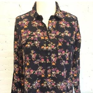 Madewell Long Sleeve Popover Blouse Black Floral M